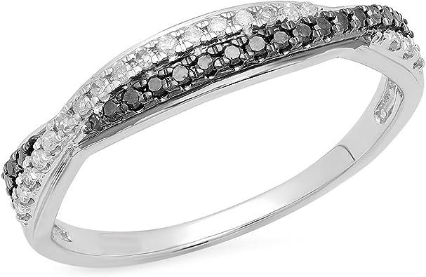 Bague Femme 9 Ct Or Blanc Diamants 0 20 Ct Rond Noir Diamants Alliance 1 5 Ct Amazon Fr Bijoux