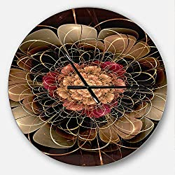 Designart Dark Gold Red Fractal Flower Pattern' Oversized Floral Metal Clock, Circle Wall Decoration Art, 23x23 Inches