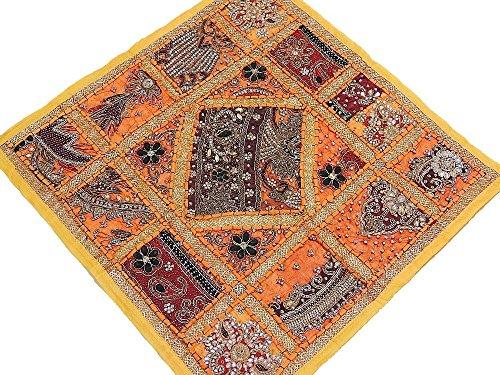 Yellow Designer Sari Patchwork Pillow - Large Square Decorat