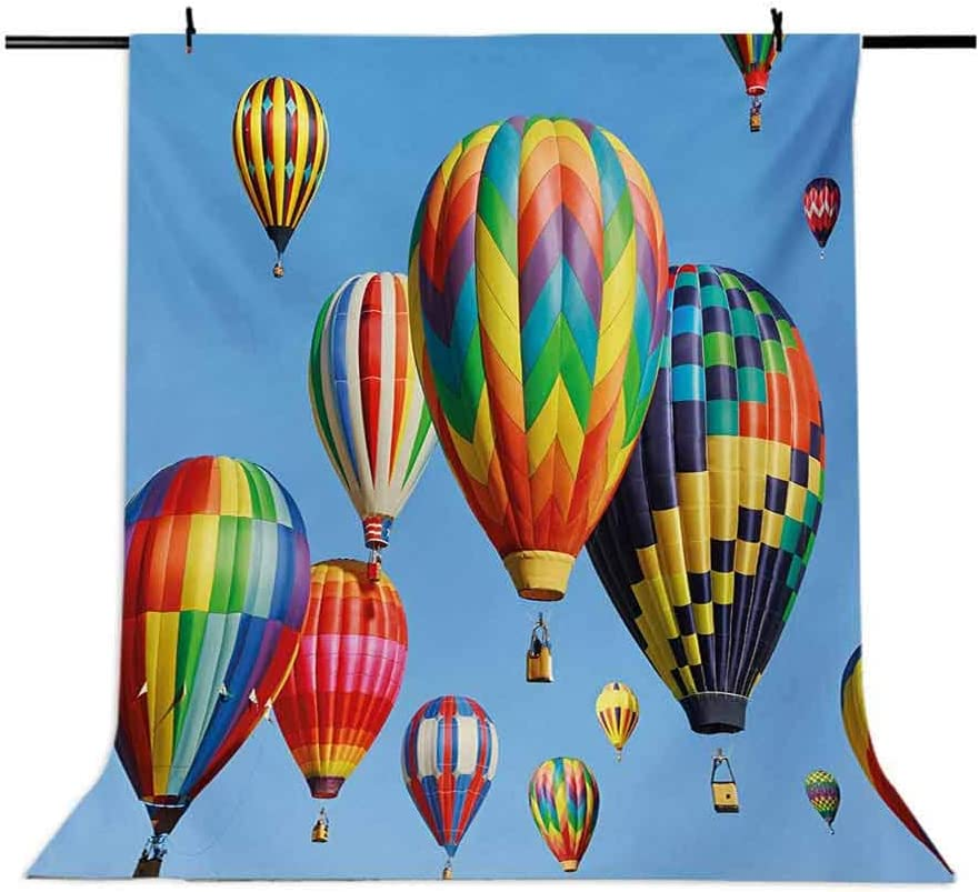 Nostalgic Hot Air Balloons in Sky Flying Journey Fun Adventure Traditional Hobby Theme Background for Baby Shower Bridal Wedding Studio Photography Pictures Blue Colorful 6x8 FT Photography Backdrop