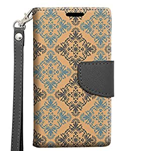 Alcatel OneTouch Elevate Wallet Case - Victorian Vintage Blue and Grey on Peach