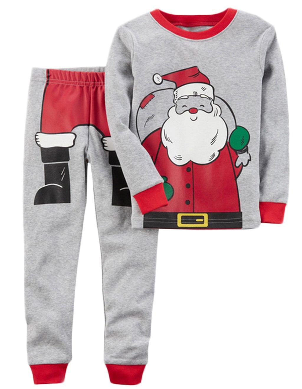Kids Baby Boys Girls Christmas Santa Claus Print Tops T -shirt Pants Pajamas Set BANGELY