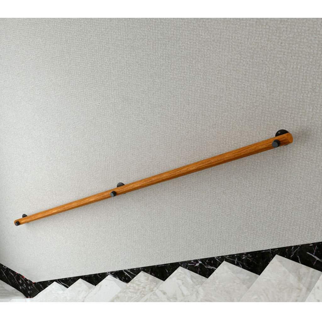 Tama/ño : 30cm Pasamanos Montado en la Pared Escalera de Mano para escaleras de Madera Asidero para ba/ño Madera s/ólida Industrial con 2 Soportes de escaleras de tuber/ía de Hierro Forjado