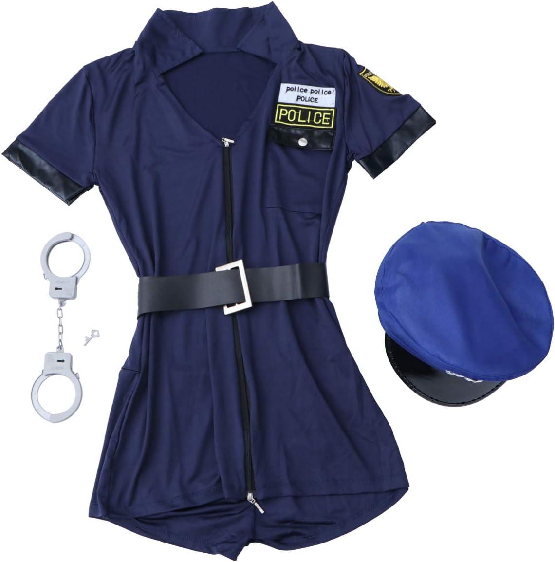 Amosfun Uniforme de la policía Sucia de Las Mujeres Vestido Sexy de la policía Ropa Oficial del Oficial para Objetos de Escena Cosplay Luna de Miel Fiesta en Disfraz 1 Juego de: