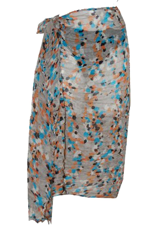 Tamari grau und blau Konfetti Sarong Strand Cover up Wrap Kleid eine Größe