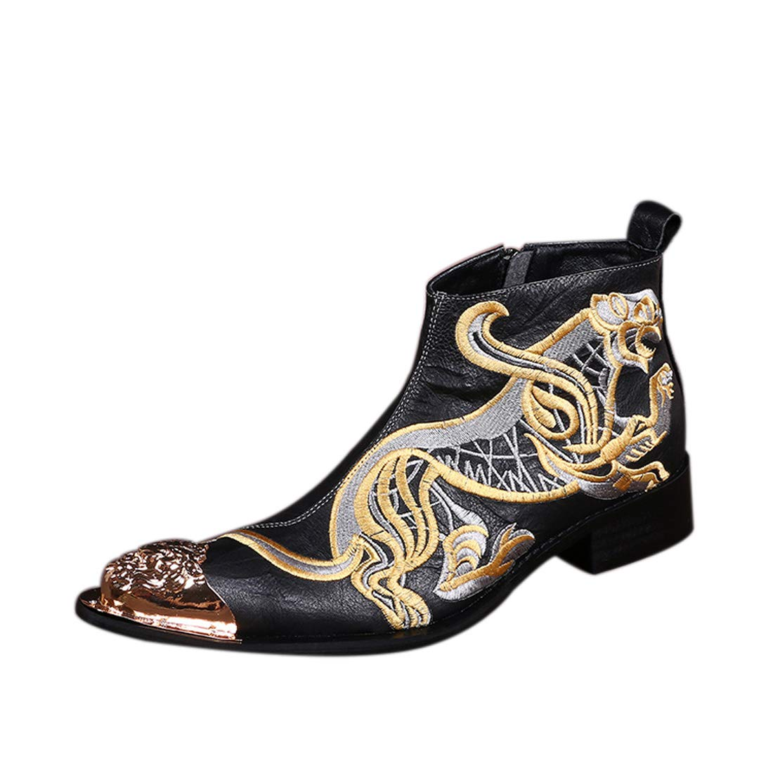DANDANJIE Mens Fashion Boots Leather Fall Winter Motorcycle Booties Ankle Boots Wedding Shoes