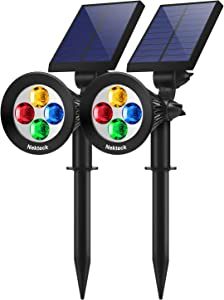 Nekteck Solar Lights Outdoor, 2-in-1 Solar Spotlights Powered 4 LED Adjustable Wall Light Landscape Lighting, Bright and Dark Sensing, Auto On/Off for Yard Garden Pool Driveway Porch Walkway Patio