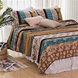 YaYi Reversible Striped Classical 100% Cotton 3 Piece Quilted Bedspread Quilt Set Queen Size Lightweight Patchwork Floral Printed Coverlet Set with Shams Bed Cover All Seasons