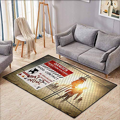 Large Area mat,Zombie Decor,Dead Man Walking Dark Danger Scary Scene Fiction Halloween Infection Picture,Ideal Gift for -