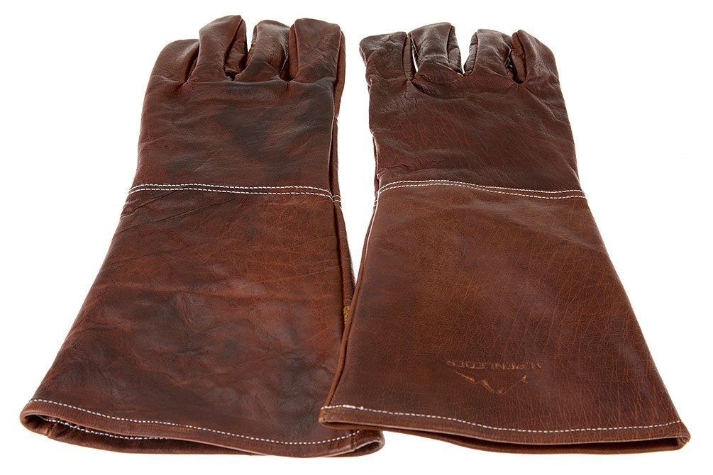 Alpenleder BBQ Gloves ALPENGLUHEN | Made of Buffalo Leather | Protective Men Women One Size Brown (Leather, Cognac)