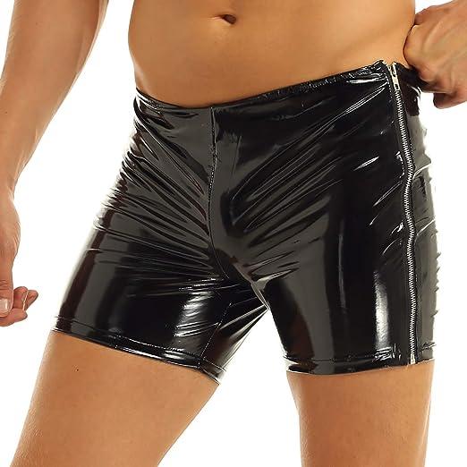 Agoky Mens Patent Leather Boxer Briefs Pants Zipper Front Crotch Short PVC Clubwear Underwear