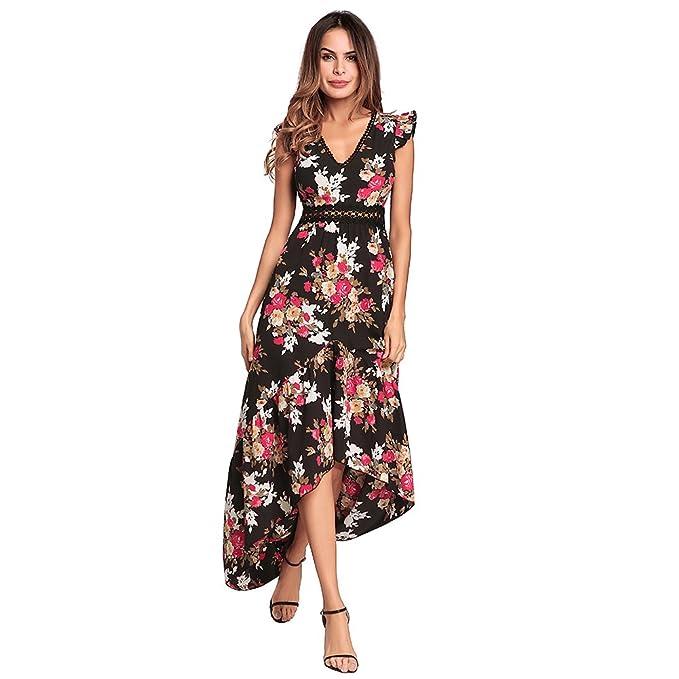 3744c13947b26 Ruiyige Women's V Neck Chiffon Floral Sexy Maxi Long Dress Summer ...