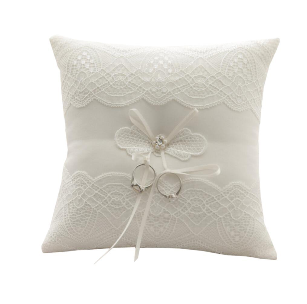 WoodBury Wedding Ring Bearer Pillow Lace Pearl Bow Ivory(8 Inch x 8 Inch)