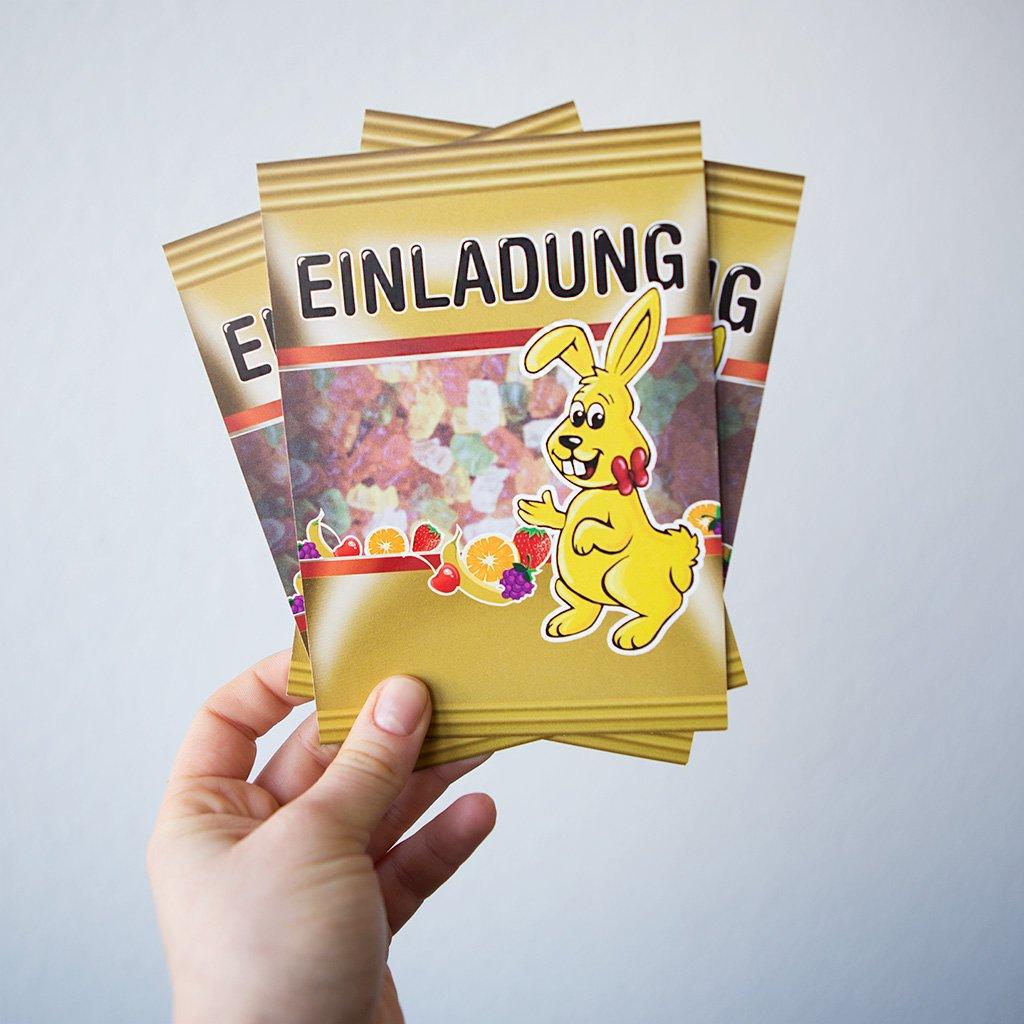 Einladungen (60 Stück) als Gummibärchen Packung Hasen Hasen Hasen Einladungskarten Geburtstag B015ZSHP36 | Shop  | Vorzugspreis  | Online  053dde