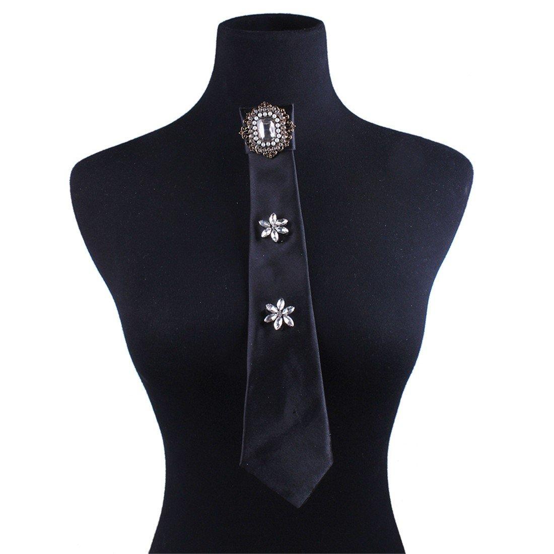 Paixpays Women Tie Ladies Fashion Solid Color Small Tie School Style Silk Necktie