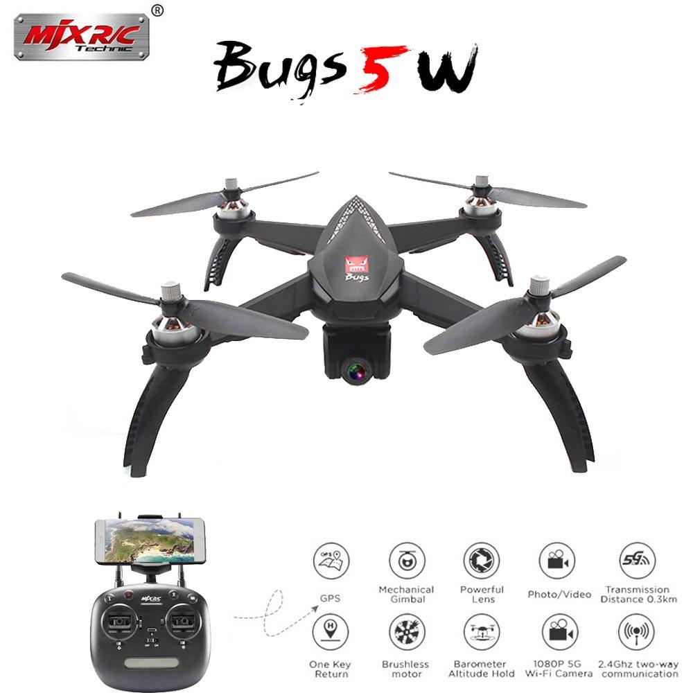Faironly Bugs 5W B5W GPS RC Drone con WiFi 1080P HD Camera Auto Return Follow Me Mode RC Quadcopter Nero