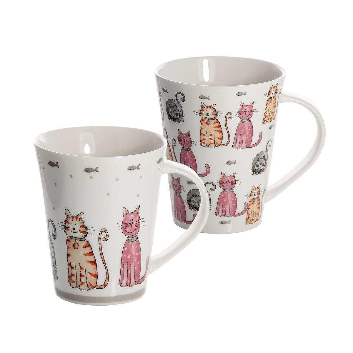 Lot de 2 Tasses mugs blanc à café ou à thé boissons chaudes nouvelle porcelaine avec deux des chats mignons assortis conceptions cadeau pour amateurs de chat avec boîte-cadeau Spotted Dog Gift Company