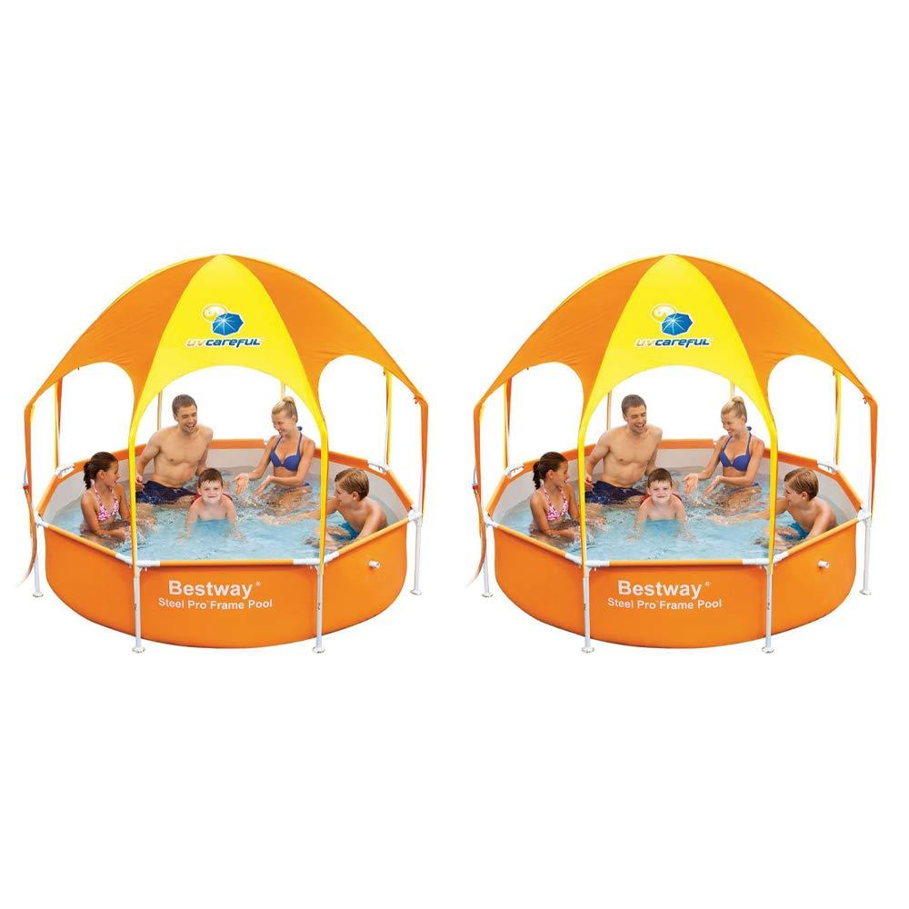 Bestway 8' x 20'' Splash in Shade Kids Spray Play Swimming Pool & Canopy (2 Pack)