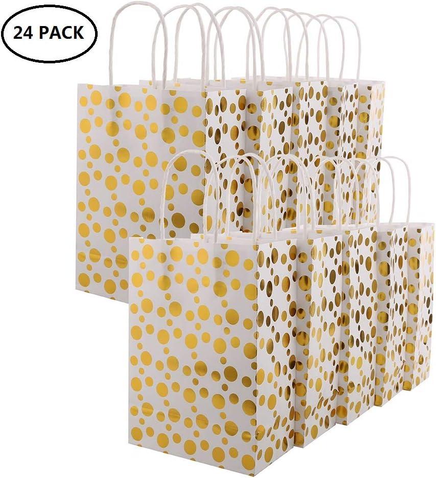 XNX Paquete de 24 Bolsas de Regalo de Papel Bolsas de Regalos para Fiestas Bolsas de Regalos reciclables para cumpleaños, Bodas, Baby Shower, Compras. (Gold Foil Dot)