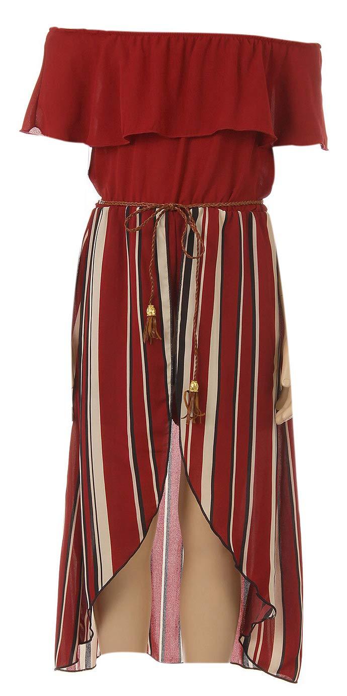 Little Girls Solid Stripe Ruffle Off Shoulder Birthday Party Romper Clothing USA Burgundy 6 (J21KS42)