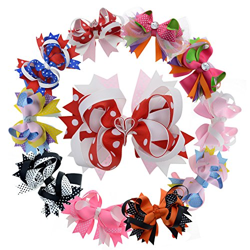 - 5 Inch Multi Stacked Giant Bow with Alligator Hair Clip for Girls Juniors 10PCS