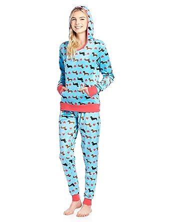 Ashford   Brooks Women s Mink Fleece Hoodie Pajama Set - Turquoise  Dachshund Dog Lover - X ae376aaf0