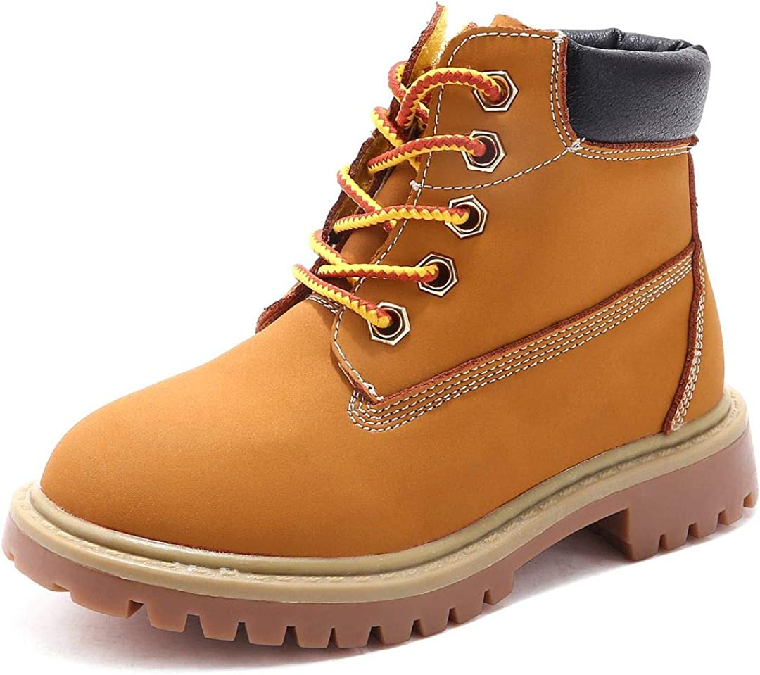Jabasic Kids Lace-Up Ankle Boots Boy Girl Waterproof Outdoor Workboots