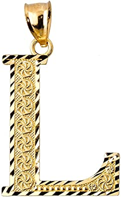 10k Yellow Gold Initial L Pendant