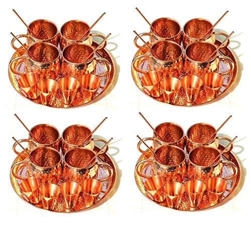 4 Pc Set Serve ware Copper Mug Shot Glass Serving Thali Ayurveda Drinkware Straw by panchal creation
