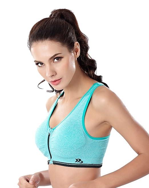 lonior mujeres de alto impacto cremallera frontal Yoga sujetador X-Back gimnasio correr deporte sujetador verde verde L 86-92 cm, C: Amazon.es: Ropa y ...