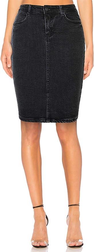 H HIAMIGOS Womens Stretch Denim High Waist Pencil Skirt Midi Knee Length