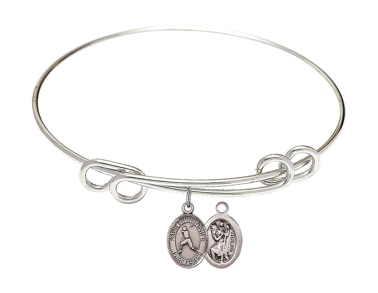 Christopher//Baseball Charm. DiamondJewelryNY Double Loop Bangle Bracelet with a St