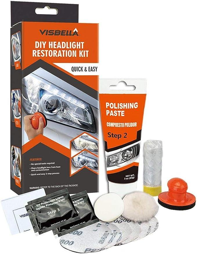 Imagen dedewdropy Kit Pulir Faros Coche, Kit De Pasta De Pulido De Faros Herramientas De Restauración De Faros para El Cuidado del Automóvil