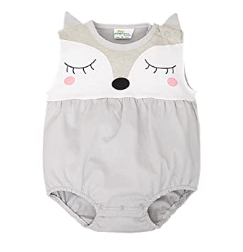 769968f6f Baby Boy Girl Romper Summer Sleeveless Cute Fox Newborn One Piece Outfits  3-6M,