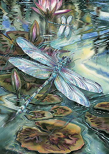 Toland Home Garden 1012328 Dragonfly & Pond 28 x 40 Inch Decorative, House Flag