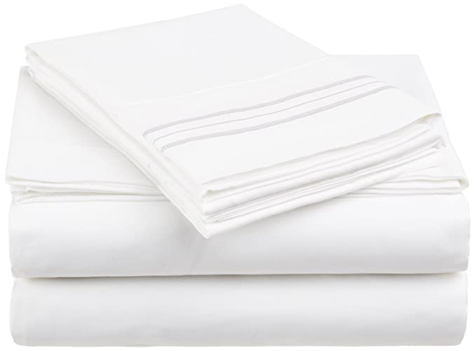 Amazon.com: De Anili Mili Triple puntada bordado asequible 4 PC hoja de cama Set - Queen Size, White: Home & Kitchen