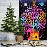 Tapestry Single Tree Multi Elephant Wall Hanging Art Decor Mandala Tapestry Hippie Dorm 86X55 inches by Aakriti Gallery
