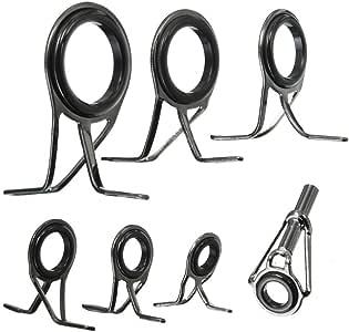 HONBAY 7pcs Set Mixed Sizes Fishing Rod Eyes Guides Line Rings Repair Kit