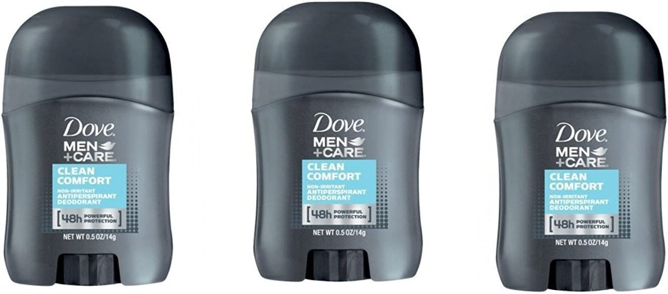 Dove Men+Care Clean Comfort Anti-Perspirant Deodorant Travel Size - 0.5 Oz (Pack of 3)