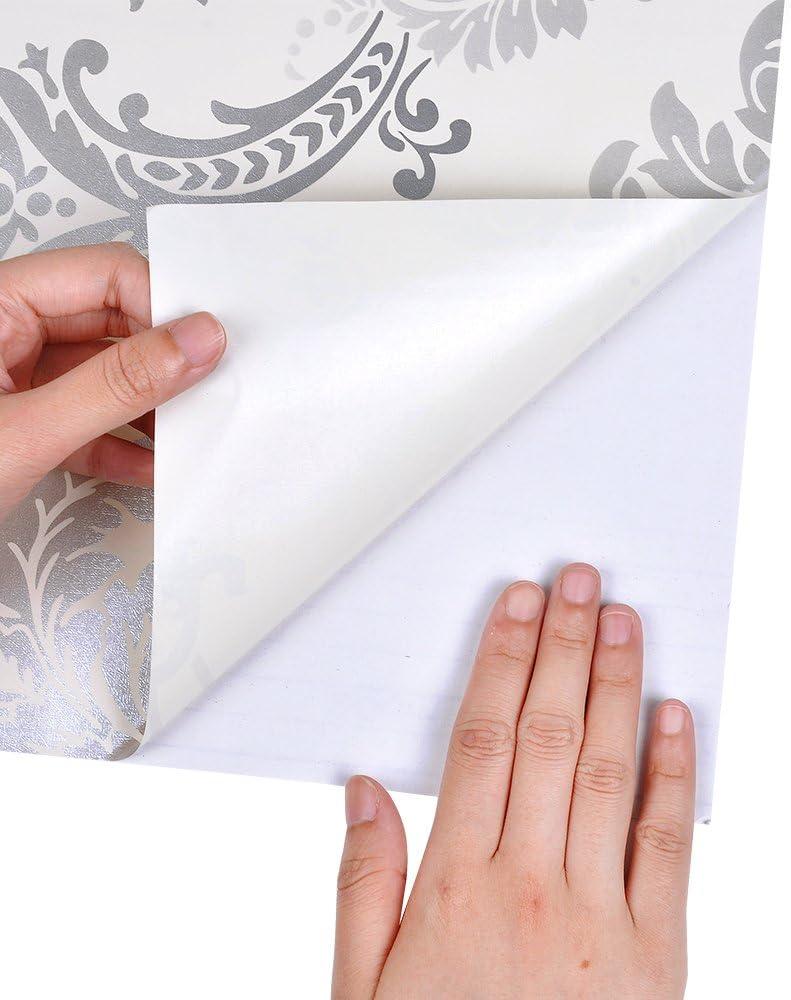 color plateado 0,45 x 10 m Yizunnu Silver Damasco Papel de contacto autoadhesivo