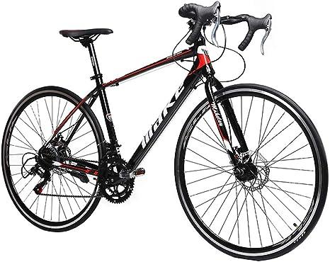 FANG Adulto Bicicleta de Carretera, Hombre Unisex 14 Velocidades Bicicleta de Carreras, Aluminio Marco Freno de Disco Mecánico Bicicleta,Rojo: Amazon.es: Deportes y aire libre
