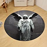 Gzhihine Custom round floor mat Sculptures Decor Collection Sculpture of a Guardian Angel with Sword in the Cemetery of Comillas Cantabria Spain Image Bedroom Living Room Dorm Ivory