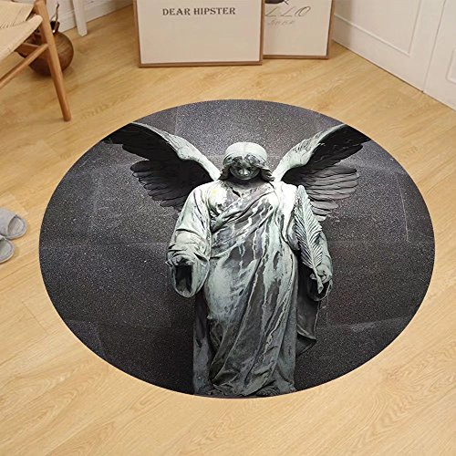 Gzhihine Custom round floor mat Sculptures Decor Collection Sculpture of a Guardian Angel with Sword in the Cemetery of Comillas Cantabria Spain Image Bedroom Living Room Dorm Ivory by Gzhihine
