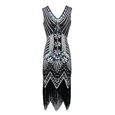 VENMO Frauen V Neck Tassel Pailletten Jugendstil verschönert Fransen Flapper  Dress Frauen Retro 1920s Flapper Kleider 8cff8a2f1b