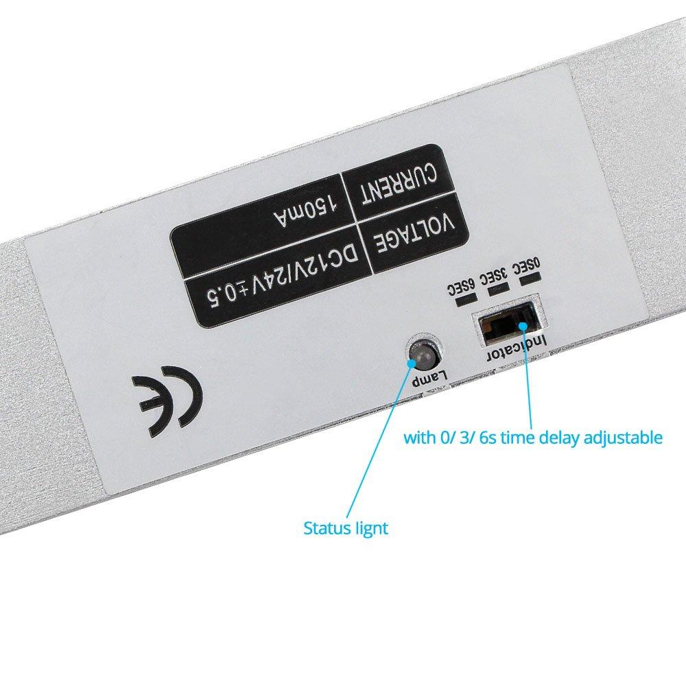 LIBO Verrou /électrique de boulon de baisse DC 12V Fail Safe Mode NC Serrure /électronique de porte pour le syst/ème de s/écurit/é de contr/ôle dacc/ès avec retard de temps