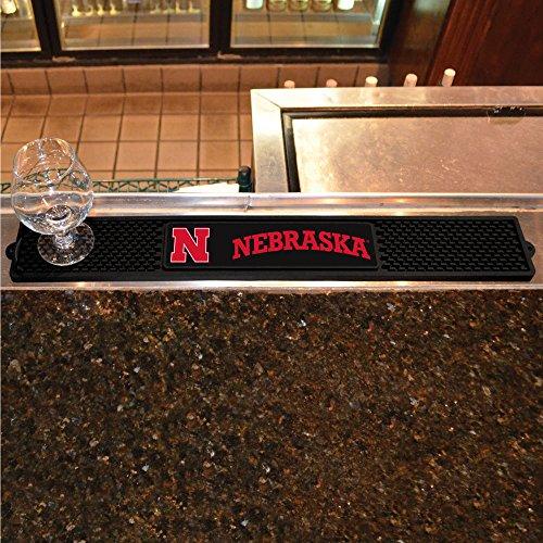 Fanmats Sports Team Logo Design University of Nebraska Rubber Non Spill Safe Serving Bar Kitchen Drink Mat (Pub Table Logo Design)
