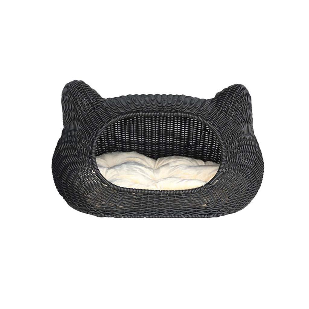 bluee ZLJ Summer Rattan Pet Nest Cute Cat Ear Style Cat Litter Kennel Small And Medium Pet Supplies (color   bluee)