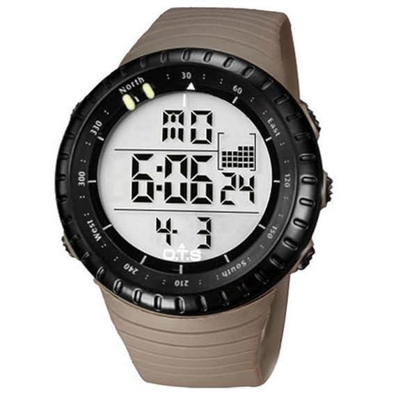 Hombre Relojes deportivos de exterior,50m resistente al agua Relojes digitales Botón grande Luminoso Calendario