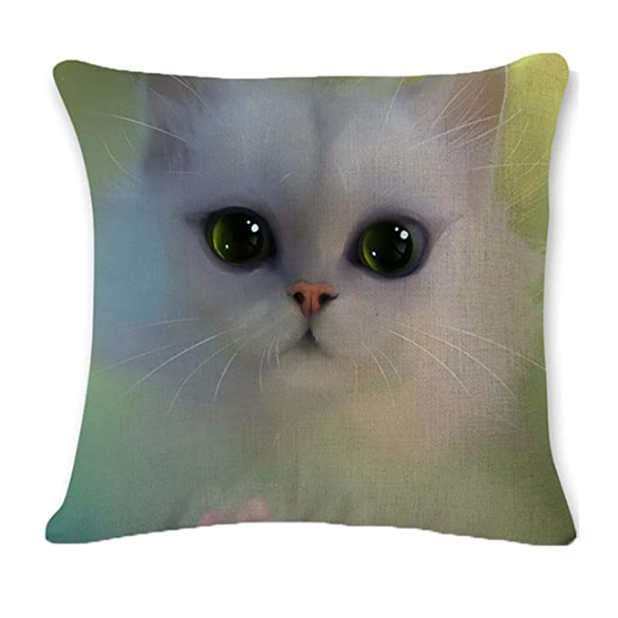 ronamick almohada funda de cojín 45 cmx45 cm gato decorativa almohada algodón Lino Espacio decorativa almohada cubierta, D, 45cm*45cm