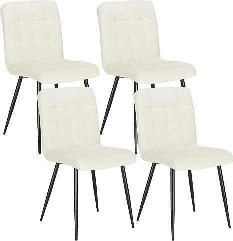 Lestarain Set Of 4 Dining Room Chairs Velvet Chair Kitchen Chair Living Room Chair For Kitchen Living Room Dining Room Office Cream Amazon De Kuche Haushalt